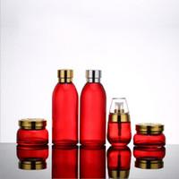 ingrosso crema cutanea rossa-120ml 30ml 50g 30g Bottiglia per la cura della pelle Bottiglia per cosmetici Contenitore per la cura della pelle Vaso di crema di emulsione con essenza di emulsione