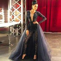 dantel uzun kollu tulumlar toptan satış-2020 Ayrılabilir Tren Dantel Uzun Kollu payetli Abiye Giyim Derin V Yaka Sexy Chic Kadınlar Tulumlar Gelinlik elbiseler de soirée