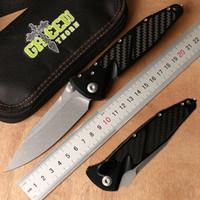 cuchillos de bolsillo micro al por mayor-Espina verde microtecnología que gira el cuchillo plegable de aluminio + CF mango D2 cuchilla exterior supervivencia cuchillo de bolsillo EDC herramienta