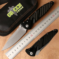 Wholesale survival technologies for sale – custom Green thorn micro technology turning folding knife aluminum CF handle D2 blade camping outdoor survival pocket knife EDC tool