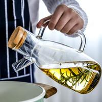 botellas de vinagre de aceite de vidrio al por mayor-Ollas de aceite transparentes resistentes al calor de vidrio de borosilicato de alto contenido en vidrio Botellas de condimento Salsa de soja Botellas de vinagre
