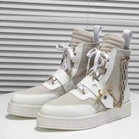 Arrival Luxury Mens Creeper Ankle Boot with Golden Chain Pin Womens Leather Martin Boots Monogram Booties Sneaker Boot Designer Shoes y8