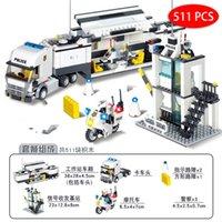 Wholesale police set toys resale online - Kids Toy compatible legoed City Street Police Station sets Car Truck rescue creative model Building kit Block cop vehicle Brick