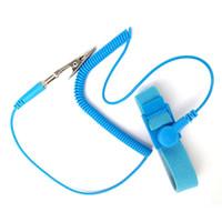 câble de mise à la terre achat en gros de-Main réutilisable de courroie de bande de poignet de câble de décharge d'ESD électrostatique de bracelet anti-statique réglable avec le fil de mise à la terre