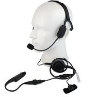 walkie militar venda por atacado-Dedo PTT MIC Militar Condução óssea Tactical Headset Headset para Motorola GP328 / 320/340 HT1250 Rádio Walkie Talkie C2224A