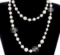 Wholesale natural pearl necklaces resale online - NEW Women Fashion Necklace Natural Pearl Necklace Sweater Multilayer Diamond Necklace Pendants Import Crystal Brooch Bridal Jewelry Bijoux