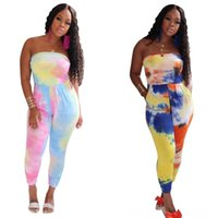 Wholesale dw style resale online - Tie dye print Women s Rompers Women s Clothing jumpsuits women strapless sexy full length rompers summer beach style backless jumpsuits DW
