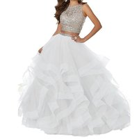 robes multi couches achat en gros de-2019 blanc robe de bal sexy perlé deux pièces robes de bal Long Pageant robe de cérémonie Occasion asymétrique Tulle robes de bal de bal