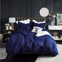 Wholesale western style beds online - Western Navy Blue Bedding Set Elegant Ruffles Duvet Cover Set Bed Linen Quilt Cover Twin Queen King Wedding Gift Houseroom Decor
