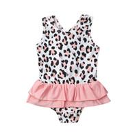 uma peça leopardo swimsuits cópia venda por atacado-Menina da criança swimwear bonito swimsuit leopardo impressão swimsuit one piece swimwear crianças meninas swimsuit maiô traje de banho
