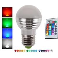 proyectores de interior rgb led al por mayor-E27 E14 LED 16 Cambio de color RGB rgbw Lámpara de bombilla 85-265V RGB Foco de luz LED + Control remoto IR