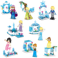 Wholesale building toys for girls resale online - 8 in Model Frozen Ice Castle Mini Action Figure Princess Kristoff Mermaid Ariel Building Blocks Toy For Girl Children
