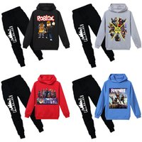 Wholesale Kids Hooded Clothing Sets Colors Fortnite Printed Letter Cartoon Cotton Blends ROBLOX Pullover Elastic Pants Sweatshirts Suits