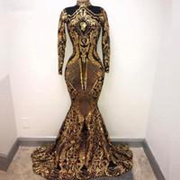 vestido dorado azul real largo al por mayor-Modesto oro cuello alto sirena vestidos de noche mangas largas apliques terciopelo barrido por encargo formal fiesta de baile vestido de fiesta más tamaño