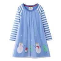 lange kleider für kleinkinder großhandel-Kleinkind Kleid Mädchen Freizeitkleidung Baumwolle Langarm Warm Weihnachten Basic Party Shirt Tunika Kleider für Mädchen Baby Mädchen Kleidung