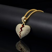 Wholesale silver chain design for mens resale online - Fashion Jewelry Mens Hip Hop Heart Pendant Necklace Gold Silver Color Pendant cm Long Chain Design Men Punk Necklace for Men