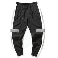 pantalones delgados de hip hop al por mayor-2018 New Autumn Thin Side Stripe Pants Hip Hop Pantalón Reflectante Drawstring Sweat Pants Men 5XL Joggers Harem