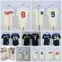 Wholesale turning clock for sale - Group buy Men s Milwaukee Travis Shaw Jersey Brewers Jonathan Lucroy Eric Thames Robin Yount Ryan Braun Turn Back The Clock Baseball Jersey