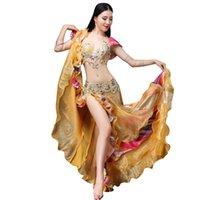 vestido de dança do ventre amarelo venda por atacado-2pcs set lindo Belly Dance Set frisada Gathering Bra Bellydance Belt Slit Chiffon Mermaid Ruffle saia vestido amarelo (Bra + saia)