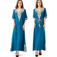 tunique de broderie achat en gros de-Manches Longues Robe Longue Maxi Robe Musulmane Islamique Caftan Abaya Plus La Taille Femmes Vêtements Grande Taille Robe Vintage Broderie Tunique Y19051001