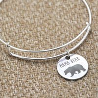 silberfarbene armbänder großhandel-Mama Bär Bettelarmband Armreifen Silber Ton Muttertagsgeschenk Weihnachtsgeschenk