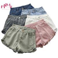 jeans coreano venda por atacado-Verão Coreano Feminino Branco Jean Shorts Do Vintage Casual Cintura Alta Preto Denim Inferior Harajuku Ulzzang Borla Rosa Quente Shorts 2019 J190427