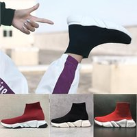 Wholesale women fashion canvas flats for sale - Group buy 2019 designer men women Speed Trainer fashion Luxury Socks Shoes black white glitter green Flat mens Trainers Runner sneakers size