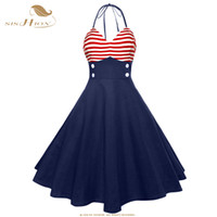 ingrosso swing americano-SISHION Vintage Retro Pin Up Dress VD1078 Dark Blue Women Halter Sleeveless Sexy American Flag Pattern Stampa Swing Summer Dress