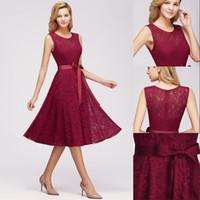 Wholesale burgundy elegant prom dresses resale online - Elegant Tea Length Burgundy Lace Homecoming Dresses Simple A Line Prom Party Wear Multi color In Stock Dresses CPS1145