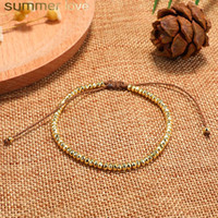 Wholesale small gifts for men for sale - Group buy 2019 New Simple Small Copper Bead Bracelet Lucky Charm Handmade Wax Rope Braided Bracelets For Men Women Jewelry Gift