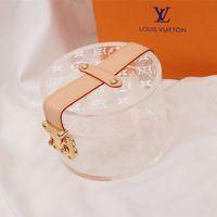 halskette handtasche großhandel-Persönlichkeit Transparent Frauen Handtasche Mode Marke Logo Gedruckt Tasche Mini Halskette Ohrringe Schmuck Aufbewahrungsbox für Geschenk