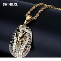 Wholesale ancient gold necklace resale online - Hip Hop Bling Jewelry Micro Pave Zircon Egyptian Pharaoh Pendant Necklace Classic Ancient Ornaments Necklaces For Man