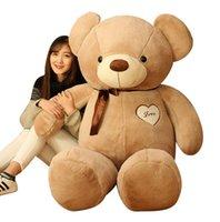 büyük oyuncak ayı kızları toptan satış-Sıcak Boy Peluş Oyuncak Teddy Bear Bebek Papyon Ile 100 cm Büyük Teddy Bear kız doğum günü hediyesi önermek Noel hediyesi