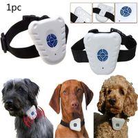 köpekler anti kabuk yaka toptan satış-Ultrasonik Anti Bark Stop Barking Pet Köpek Eğitim Şok Kontrol Yaka Küçük Orta Büyük Köpekler için Anti Barking