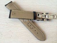 Wholesale 19mm watch buckle resale online - 19mm Buckle18mm PRC200 T17 T41 T461 High Quality Silver Butterfly Buckle Black Genuine Leather Watch Bands Strap Y200414