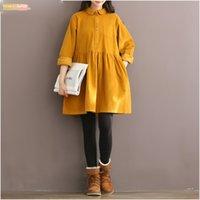camisa de veludo amarelo venda por atacado-Mulheres Yellow alta Vintage Qualidade Vestido manga comprida Peter Pan Mori altura do joelho menina Corduroy Red Outono Inverno shirt Vestidos Vestidos
