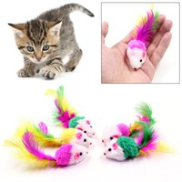 Wholesale toys playing resale online - Cat Toys Colorful Mini Mouse Dogs Funny Playing Colorful Soft False Mouse Toys Cat Puppy Toy Feather Tail Kitten Small Mouse Toys BH2841 TQQ