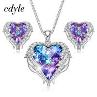 c33a5eb5a1aa Cristales Cdyle De Swarovski Alas de ángel Collares Pendientes Púrpura Azul  Cristal Corazón Colgante Conjunto de joyas para el Día de la Madre Regalo  ...