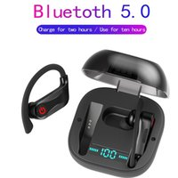 bluetooth alimentado venda por atacado-Poder HBQ Pro Q62 Tws V5.0 Fone de Ouvido Bluetooth Estéreo Sem Fio Fone de Ouvido Esporte Gancho Gancho 950 mah Fones De Ouvido À Prova D 'Água HD MIC HBQ