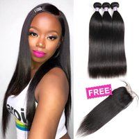 Wholesale human yaki hair closures resale online - Brazilian Hair Extensions Indian Human Hair Bundles Peruvian Curly Body Wave Buy Bundles Get A Free Closure Yaki Straight Water Wave