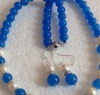 mavi inci kolye küpe toptan satış-Kolye Ücretsiz kargo + + + + Beyaz Akoya Kültürlü Pearl / Mavi Yeşim Yuvarlak Boncuk kolye küpe Seti / R021