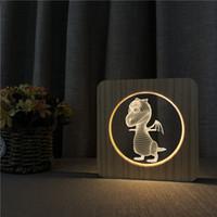 mosca acrilica al por mayor-Sharelife Creative Wood + Acrylic Flying Dragon Warm White LED USB Night Light Lámpara de mesa Inicio Regalo de cumpleaños para niños 3609
