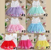 Wholesale european beach wedding dresses resale online - Baby Girls Dress Summer Floral Flower Sleeveless dresses Girls Mesh Tulle TUTU Beach Skirt Kids Princess Wedding Dress Color B362