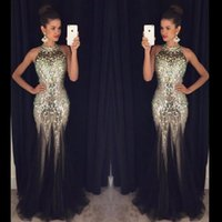Wholesale party dresses queens online - 2019 New Sexy Backless Prom Dresses Mermaid Halter Marjor Beads Sparkle Gold Sequined Long Formal Evening Party Gowns Party Queen Dresses