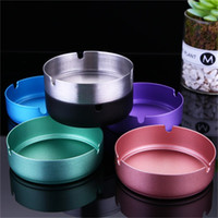 Wholesale smoke paintings resale online - Europe Style Household Ashtray Living Room Modern Metal Spray Paint Stainless Steel Smoking Ashtray Various Color xc H1