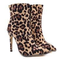 talons d'hiver stylés achat en gros de-Perimedes bottes à talons hauts léopard hiver chaud femmes dame bout pointu élégant rétro fermeture éclair talons chaussures bottes botas feminina