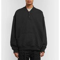 schwarzes baseball t-stück großhandel-19SS Angst vor Gott NEBEL Crewneck Sweatshirt Baseball Langarm Schwarz Pullover T Street Casual Solid Sweater T-Shirt HFHLWY005