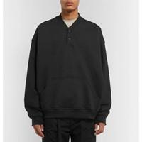 beyzbol sweatshirt siyah toptan satış-19SS tanrı Korkusu SIS Crewneck Kazak Beyzbol Uzun Kollu Siyah Kazak Tee Sokak Rahat Katı Kazak T Gömlek HFHLWY005