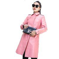 розовая корейская куртка оптовых-Real Genuine Leather Jacket Sheepskin Coat Windbreaker Autumn Winter Jacket Women Clothes 2018 Korean  Tops ZT1568