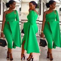 té uno al por mayor-Vestidos de fiesta cortos de sirena sudafricana Ropa de cóctel para mujer Vestidos de un hombro de longitud de té baratos de un hombro Vestidos formales
